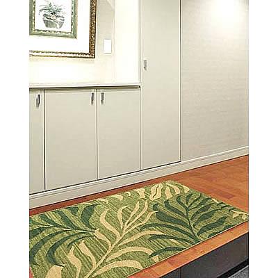 ハワイアン ラグ(平織り) パームリーフ(セージグリーン)78cm×120cm
