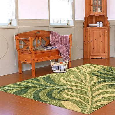 ハワイアン ラグ(平織り) パームリーフ(セージグリーン)120cm×180cm