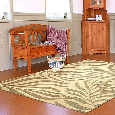 ハワイアン ラグ(平織り) パームリーフ(サンドグリーン)120cm×180cm
