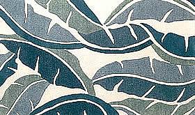 ハワイアン ラグ(段通織り) バナナリーフ(ブルー)
