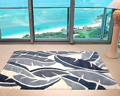ハワイアン ラグ(段通織り) バナナリーフ(ブルー)120cmx180cm