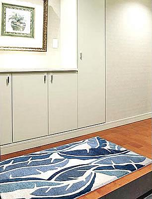 ハワイアン ラグ(段通織り) バナナリーフ(ブルー)78cmx120cm