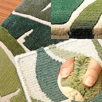 ハワイアン ラグ(段通織り) バナナリーフ(グリーン)の毛並み