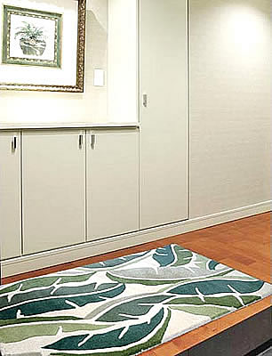 ハワイアン ラグ(段通織り) バナナリーフ(グリーン)78cm×120cm