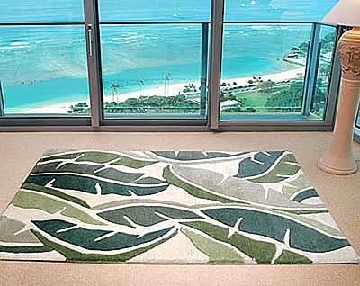ハワイアン ラグ(段通織り) バナナリーフ(グリーン)120cm×180cm