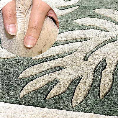 ハワイアン ラグ(段通織り) ラウアエファーン(ペールグリーン)の毛並み