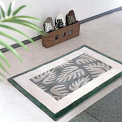 ハワイアン ラグ(段通織り) ラウアエファーン(ペールグリーン)60cm×90cm
