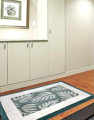 ハワイアン ラグ(段通織り) ラウアエファーン(ペールグリーン)78cm×120cm