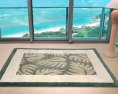 ハワイアン ラグ(段通織り) ラウアエファーン(ペールグリーン)120cm×180cm