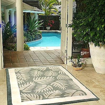 ハワイアン ラグ(段通織り) ラウアエファーン(ペールグリーン)150cm×210cm