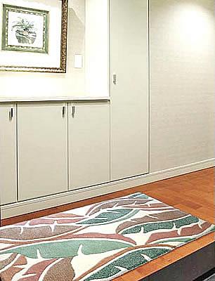 ハワイアン ラグ(段通織り) バナナリーフ(ピーチ)78cmx120cm