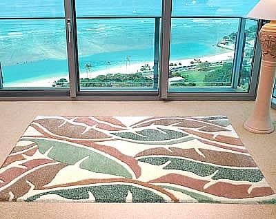 ハワイアン ラグ(段通織り) バナナリーフ(ピーチ)120cmx180cm