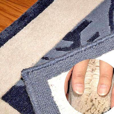 ハワイアン ラグ(段通織り) ラウアエファーン(ブルー)の毛並み