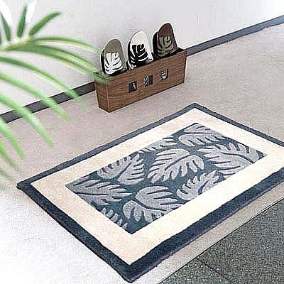 ハワイアン ラグ(段通織り) ラウアエファーン(ブルー)60cm×90cm