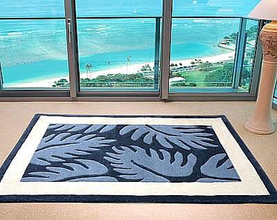 ハワイアン ラグ(段通織り) ラウアエファーン(ブルー)120cm×180cm