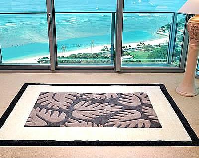ハワイアン ラグ(段通織り) ラウアエファーン(チャコール)120cm×180cm