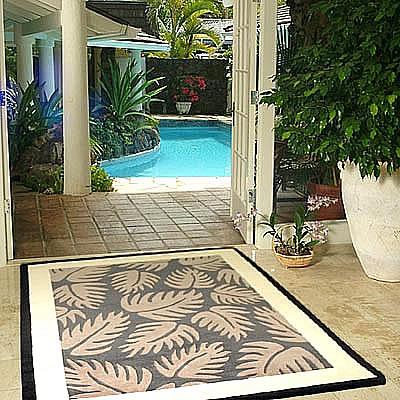 ハワイアン ラグ(段通織り) ラウアエファーン(チャコール)150cm×210cm