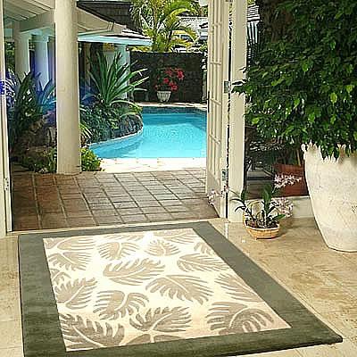 ハワイアン ラグ(段通織り) ラウアエファーン(グリーン)150cm×210cm