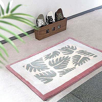 ハワイアン ラグ(段通織り) ラウアエファーン(ピーチ)60cm×90cm