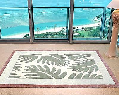 ハワイアン ラグ(段通織り) ラウアエファーン(ピーチ)120cm×180cm