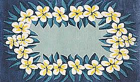 ハワイアン ラグ(段通織り) プルメリア・レイ(ブルー)