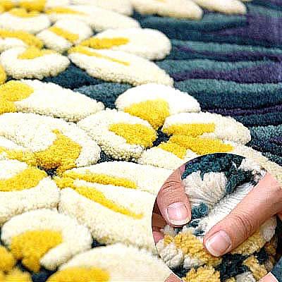 ハワイアン ラグ(段通織り) プルメリア・レイ(ブルー)の毛並み