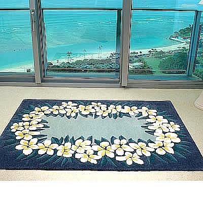ハワイアン ラグ(段通織り) プルメリア・レイ(ブルー)120cm×180cm