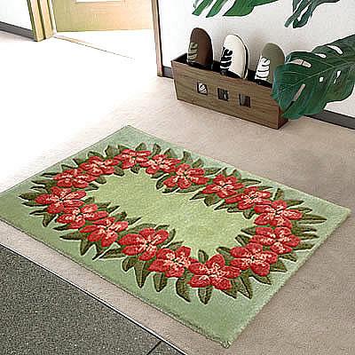 ハワイアン ラグ(段通織り) プルメリア・レイ(グリーン)60cm×90cm