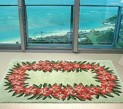 ハワイアン ラグ(段通織り) プルメリア・レイ(グリーン)120cm×180cm