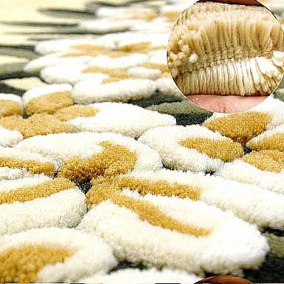 ハワイアン ラグ(段通織り) プルメリア・レイ(イエロー)の毛並み