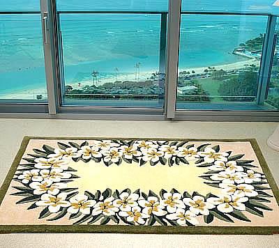 ハワイアン ラグ(段通織り) プルメリア・レイ(イエロー)120cm×180cm