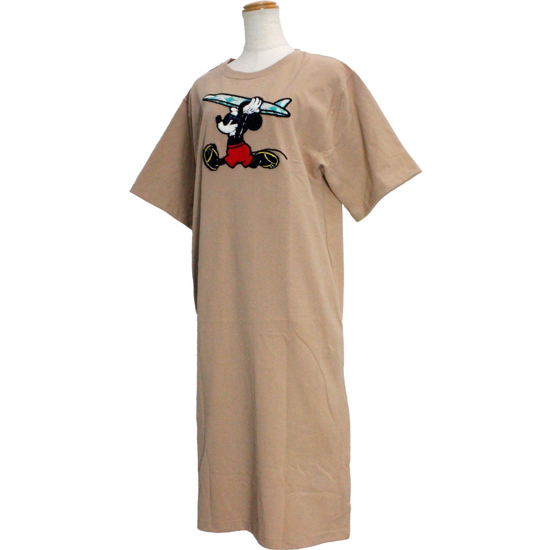 フララニ ミッキー サガラ刺繍&振り刺繍ワンピース サーフボードミッキー ベージュ