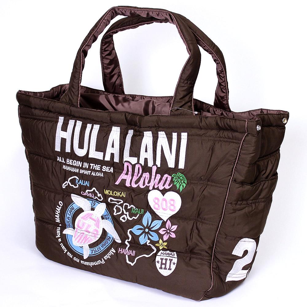 Hula Lani トートバッグ Lサイズ オール刺繍アロハアイランド ブラウン