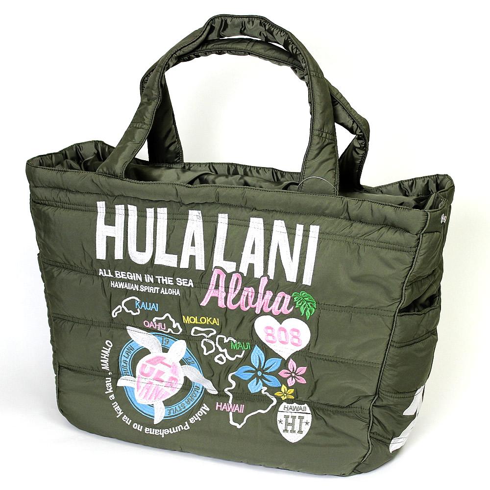 Hula Lani トートバッグ Lサイズ オール刺繍アロハアイランド カーキ