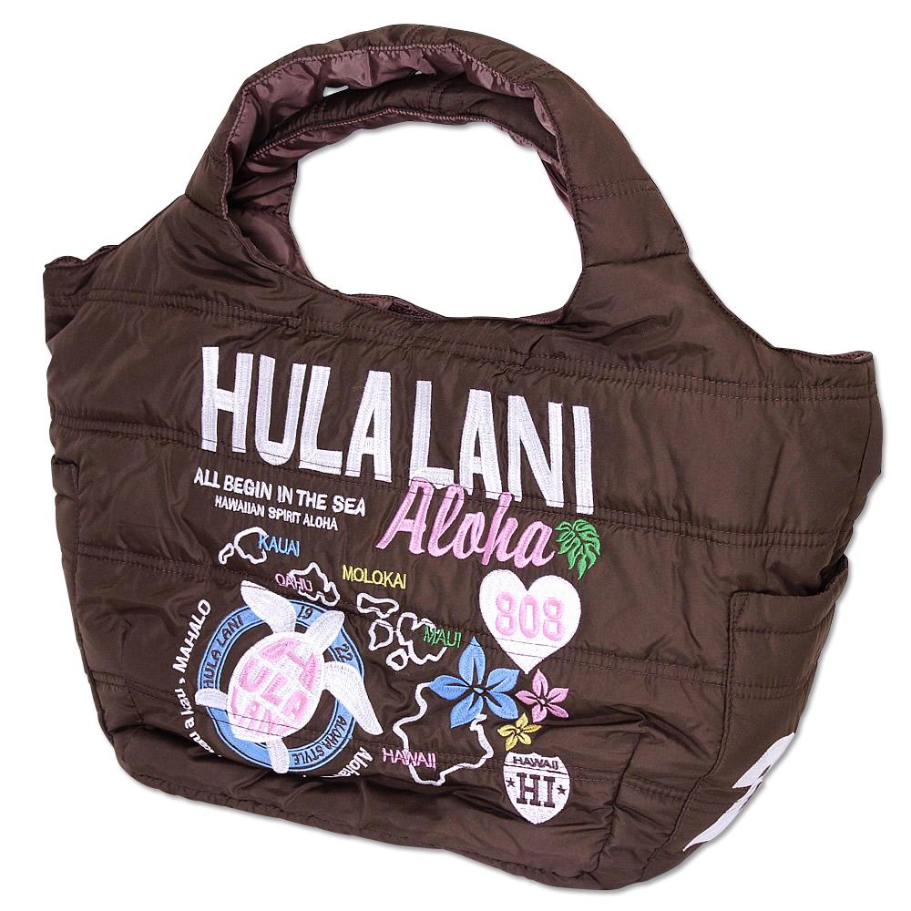 Hula Lani トートバッグ Mサイズ オール刺繍アロハアイランド ブラウン