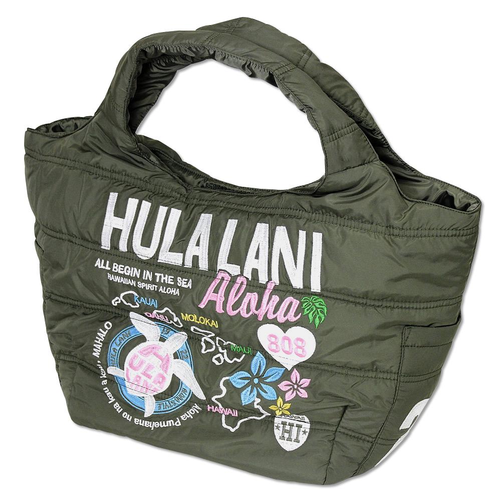 Hula Lani トートバッグ Mサイズ オール刺繍アロハアイランド カーキ