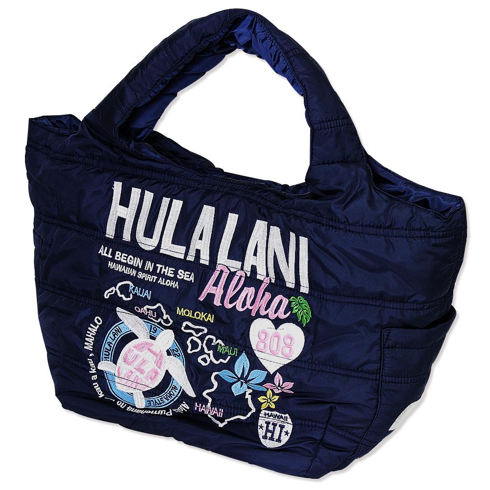 Hula Lani トートバッグ Mサイズ オール刺繍アロハアイランド ネイビー