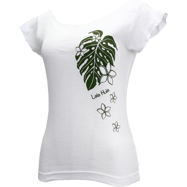 ララフラ カットオフストレッチTシャツ モンステラ&プルメリア ホワイト