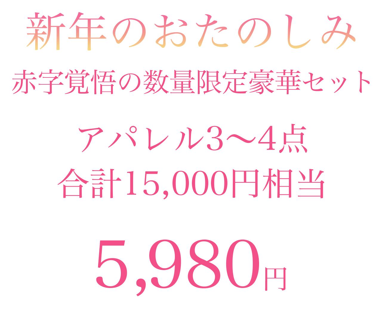 15,000円相当 赤字覚悟の5,980円